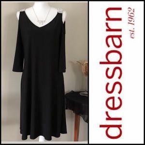WOMEN'S BLACK COCKTAIL COLD SHOULDER DRESS